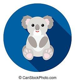 Koala icon in flat style isolated on white background. Animals symbol stock vector illustration.