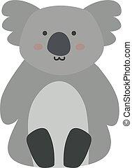 Koala, illustration, vector on white background.