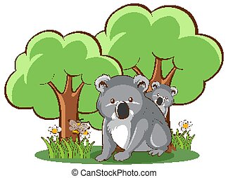 Koala in forest on white background