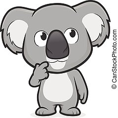 Clipart picture of a koala cartoon character in thinking gesture