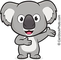 Clipart picture of a koala cartoon character in welcoming gesture