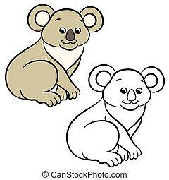 koala, livre, bear., coloration