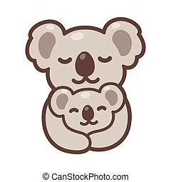 Koala mom and baby - Cute cartoon koala mom hugging baby cub...