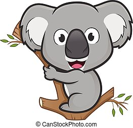 Clipart picture of a koala cartoon character on a tree