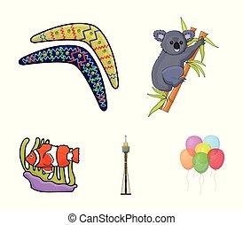 Koala on bamboo, boomerang, Sydney tower, fish clown and ammonium. Australia set collection icons in cartoon style vector symbol stock illustration web.