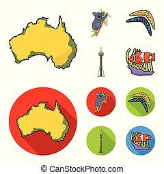 Koala on bamboo, boomerang, Sydney tower, fish clown and ammonium. Australia set collection icons in cartoon, flat style vector symbol stock illustration web.
