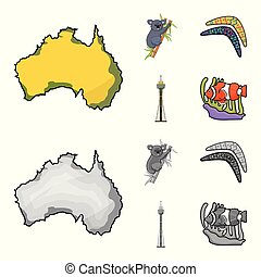 Koala on bamboo, boomerang, Sydney tower, fish clown and ammonium. Australia set collection icons in cartoon, monochrome style vector symbol stock illustration web.