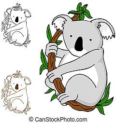 Koala on Branch - An image of a koala cartoon drawing.