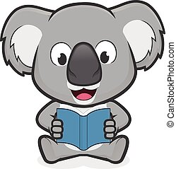 Koala reading a book - Clipart picture of a koala cartoon...