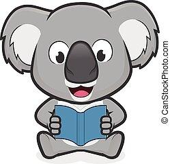 Koala reading a book - Clipart picture of a koala cartoon...