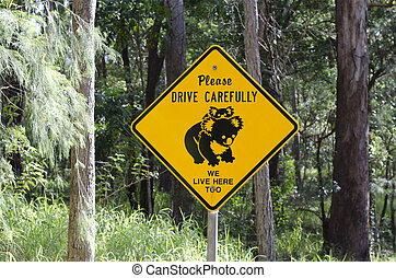 Koala road sign in Australia