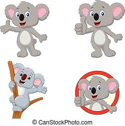 koala, satz, karikatur, sammlung, glücklich