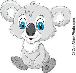 koala, schattige, spotprent, zittende