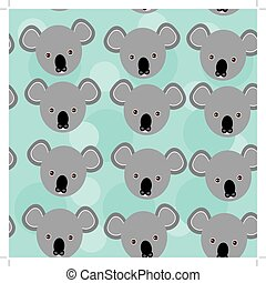 koala Seamless pattern with funny cute animal face on a blue background