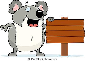 Koala Sign - A happy cartoon koala standing next to a sign.