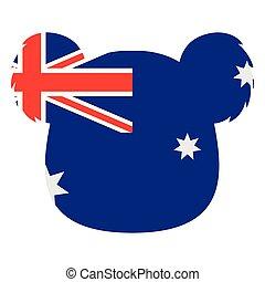 Koala silhouette with the flag of Australia