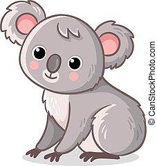 Koala sits on a white background. Cute animal in cartoon style.