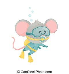 koala, snorkeling, caricatura, llevando, ilustración, vector, salto subacuático, traje