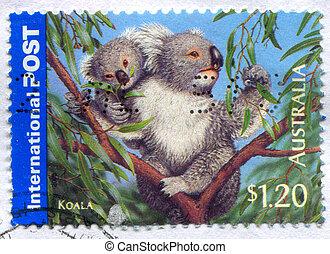 Koala - AUSTRALIA - CIRCA 2005: stamp printed by Australia,...
