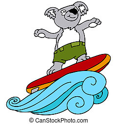 Koala Surfing - An image of a koala going surfing.
