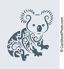 koala, törzsi, vektor
