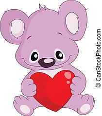 koala, tenencia, un, corazón