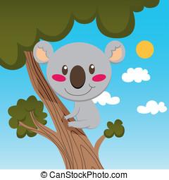Koala Tree - Little koala smiling on a high tree branch...
