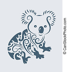 Koala drawing with floral ornament decoration. Easy to edit color.