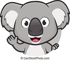 Clipart picture of a koala cartoon character waving in round frame