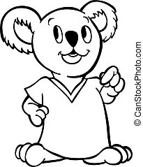Koala wearing shirt line art