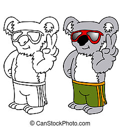 Koala Wearing Sunglasses - An image of a koala wearing...