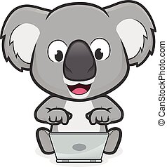 Clipart picture of a koala cartoon character with laptop