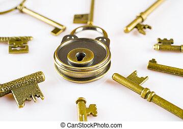 kobber, nøgler, og, låser