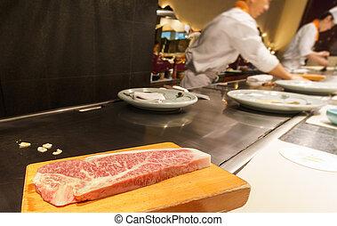 Kobe beef in the restaurant