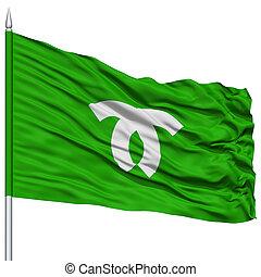 Kobe Capital City Flag on Flagpole, Flying in the Wind, Isolated on White Background