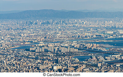 Kobe Cityscape, Aerial view from Mt. Maya