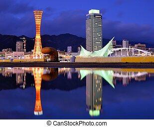 Kobe Japan - Kobe, Japan skyline with puddle reflections