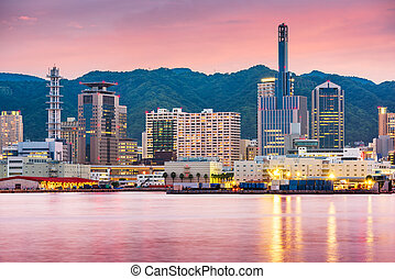 Kobe, Japan Port Skyline - Kobe, Japan port skyline on the ...