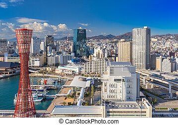 Kobe Japan Skyline - Kobe, Japan harbor skyline.