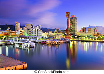 Kobe Japan Skyline - Kobe, Japan port skyline in the morning...