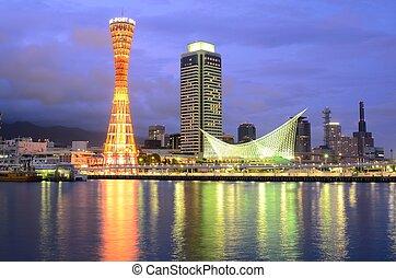 Kobe, Japan Skyline - The dusk cityscape of Kobe, Japan at ...