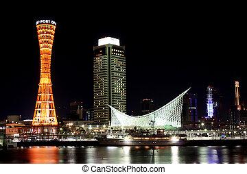 Kobe Port at Night - Kobe Port Tower and buildings at night ...