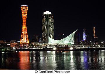 Kobe Port at Nighttime - Kobe Port Tower and buildings at ...