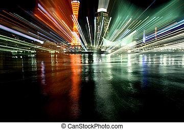 Kobe Port Night Light Explosion - Kobe Port cityscape lights...