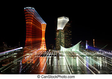 Kobe Port Night Zoom 2 - Kobe Port Tower and buildings at ...