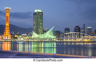 Kobe Port Tower and Maritime Museum in Japan - Night view of...