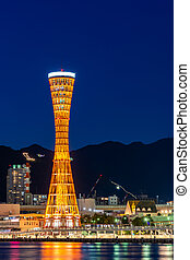 Kobe port tower sunset - Kobe Port Tower at sunset Twilight ...