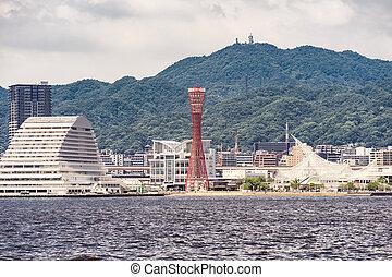 Kobe port tower sunset - Kobe Port Tower in Kobe downtown ...