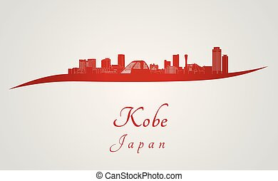 Kobe skyline in red and gray background in editable vector ...