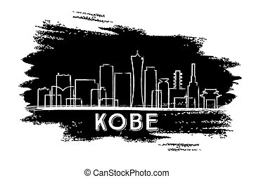 Kobe Skyline Silhouette. Hand Drawn Sketch.